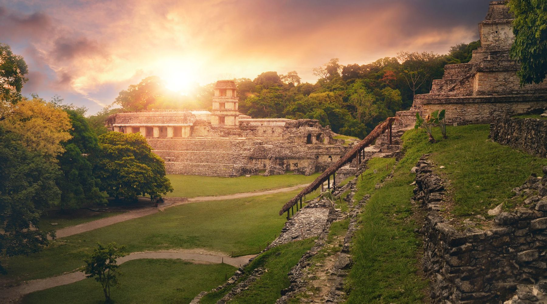 The Archaeological Zone of Palenque in Chiapas